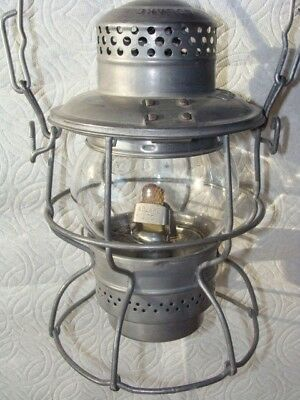 Delaware & Hudson Railroad Lantern Antique Vintage D&H Railway Etched Globe