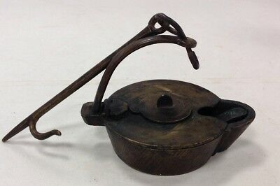 Antique Primitive Betty Lamp With Unusual Swinging Brass Lid, Hook and Pick