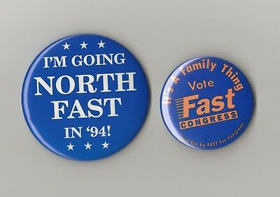 "1994(Pair) Ollie North 3"" & Fast 2.25"" / Virginia Congressional Campaign Buttons"