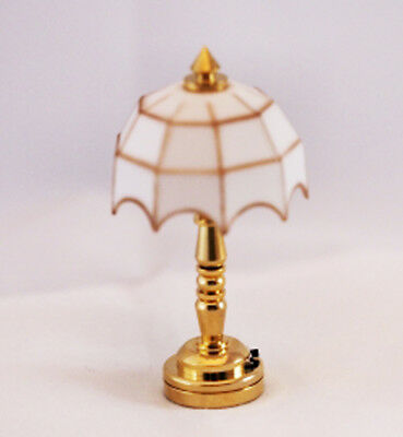 Dollhouse Miniature 1:12 Scale LED Battery White Tiffany Lamp in Gold