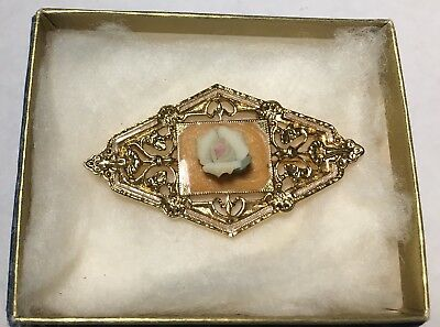 Vintage 1928 Victorian Style Pin Brooch W/ Ceramic Porcelain Rose Gold Tone