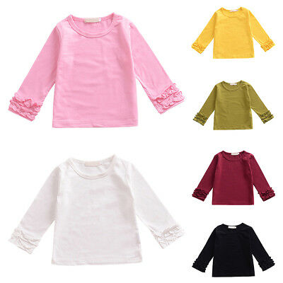Girls Plain Baby Pullover Top Ruffle Boutique Toddler Long Sleeve T-shirt Blouse
