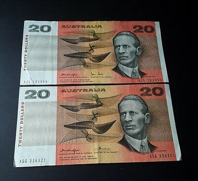 Two Australian $20  paper banknotes, KNIGHT STONE, KNIGHT WHEELER. Circulated