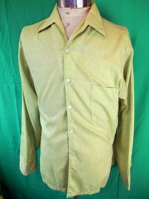 Vintage 60s Groovy Green Paisley Pattern Poly/Cotton Pelaco Casual Party Shirt M