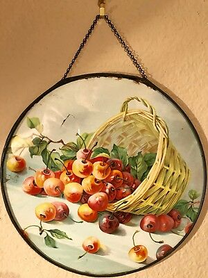 Vintage Flue Cover, Basket Of Cherries.   9 1/2''