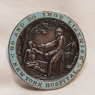Sterling silver enamel pin New York Hospital 1952 Go do thou likewise