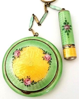 Vintage RAC Lemon Green & Yellow Guilloche Tango Vanity Compact. UNSCATHED. See!