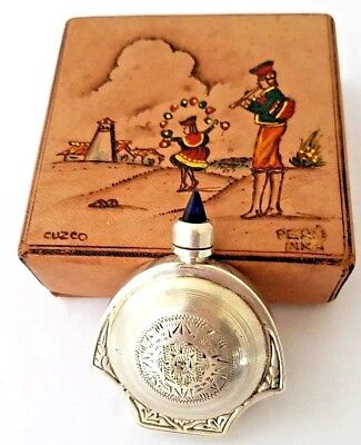 Vintage Sterling Silver Perfume Bottle & UNIQUE Hand Painted Leather Box Compact