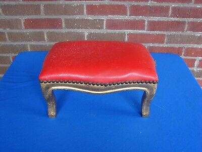 French Gold Gilt Wood Stool Bench Ottoman #2