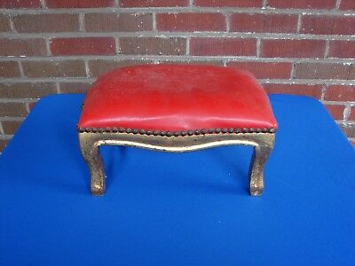 French Gold Gilt Wood Stool Bench Ottoman #1