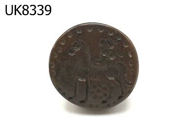 Ancient Roman On Horse Carving Intaglio Brown Agate Dome Stamp Bead #8339