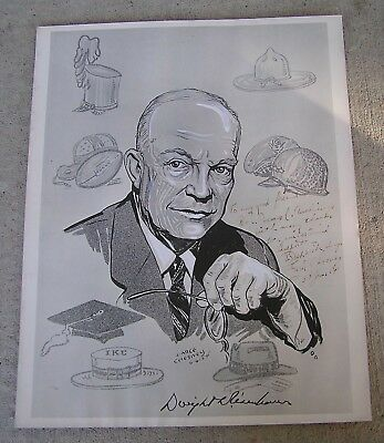 Earle Chesney Cartoon Signed By President Eisenhower To New Jersey Congressman