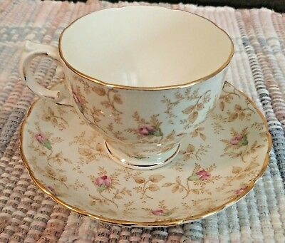 Gold Trim Plant Tuscan China Made in England Tea Cup and Saucer