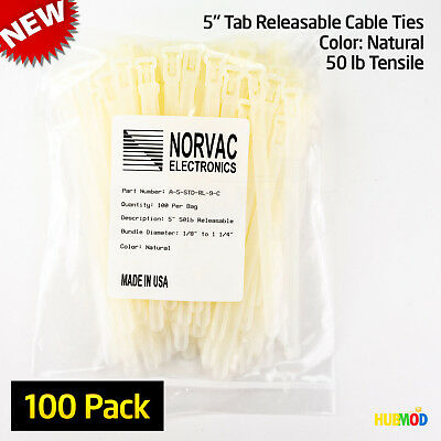"100 Pack 5"" Medium Natural Cable Zip Ties Tab Releasable Reusable A-5-STC-RL-9-C"
