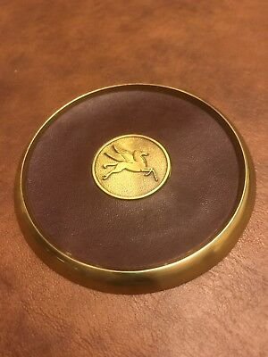 Mobil Oil Flying Pegasus Brass Leather Coaster Executive Desk Office