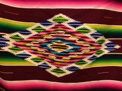 VINTAGE 40s Native MEXICO Blanket RUG EYED Hand WOVEN Old SALTILLO Antique 80x37