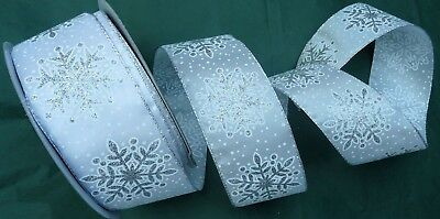 63MM New White Silver Sparkly Glitter Snowflake WireEdge Ribbon Christmas party