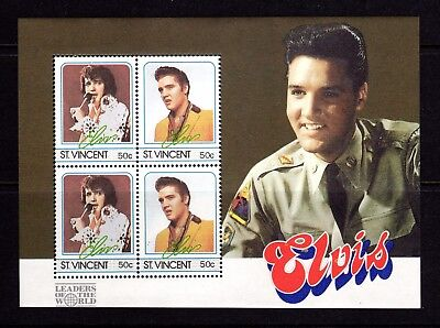 1985 ***MUH*** St. VINCENT - ELVIS PRESLEY - MINI SHEET of 4 SE-TENANT 50 cent.