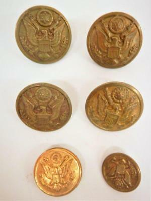 6 WWI & II Metal Buttons US Army, Rex Products Corp New Rochelle NY, Eagle, Scov