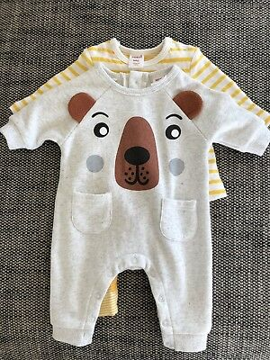 2 Baby Boys Seed Newborn All In One Suit