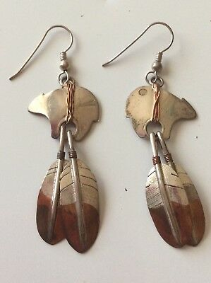 Signed Sterling Bear Native American Earrings ESTATEj Jewelry Navajo Zuni