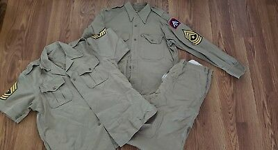 Vintage WWII US. Army Military Khaki Tan Official Dress Uniform Patch Shirts A5
