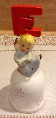 """Vntg Christmas NOEL Lute Angel Bell """"E"""" Only Dickson? Shenandoah Products Japan"""