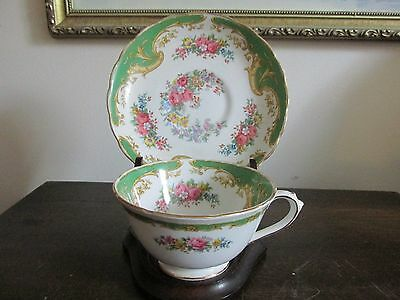 """Vintage  Tuscan """"Naples"""" England Tea Cup And Saucer Flowers Rink Roses Green"""