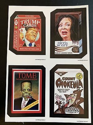 Rare LOST WACKY PACKAGES Series 4 QUAD BLOCK of 4 Titles White Back