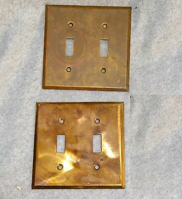 2 Antique BRASS DOUBLE GANG SWITCH PLATE COVERS TOGGLE Heavy Gauge