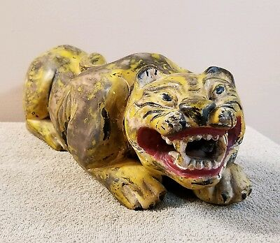 Old Polychrome painted Big Cat Tiger Carved Wood Large