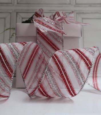 63MM WireEdge White Red Silver candy Stripe Glitter Mesh Ribbon Christmas NY DIY
