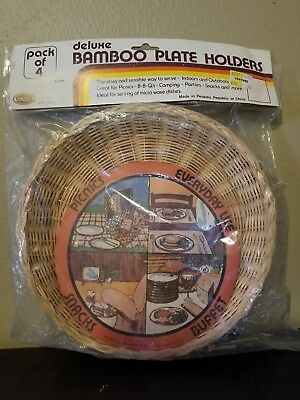 Wicker Plate Holders Vintage Pack of 4 Rattan Bamboo Picnic Paul Marshall 1982