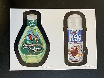Lost Wacky Packages 4th Series BLACK LUDLOW Green Golfers / K9 #4/10