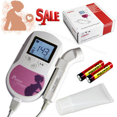 USA,Contec Pocket Fetal Doppler,3Mhz LCD Prenatal Heart Rate Baby Monitor,GeL