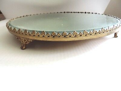 Large Gold Tone Mirror  Plateau Footed Beveled Mirror Vanity / Perfume Tray.