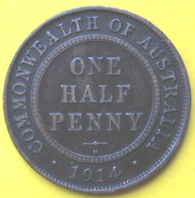 1914H  RARE KGV HALF PENNY - F?? Circulated Coin  - GREAT  INVESTMENT