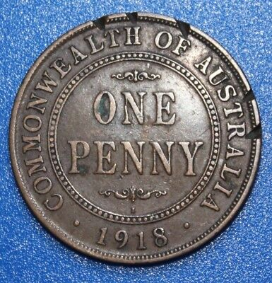 1918 I  -RARE  AUSTRALIAN PENNY -   Circulated  KGV Coin,  Great Investment