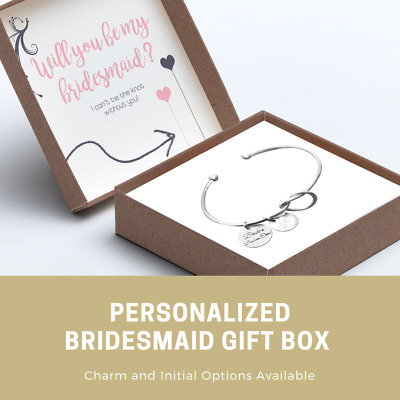 Personalized Bridesmaid Gifts - Tie the Knot Charm Initial Bracelet Gift Box