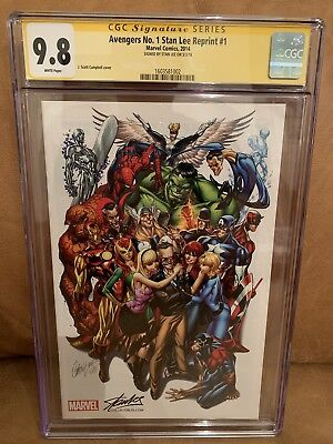Avengers 1 J SCOTT CAMPBELL COLOR VARIANT 2014 CGC SS 9.8 Signed by STAN LEE NM+