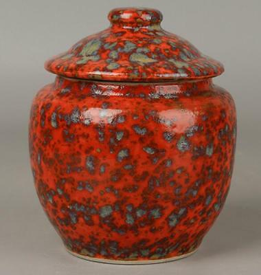 Chinese Old Handmade Kiln To Change Red Glaze Tea Can  Qian Long Mark D01