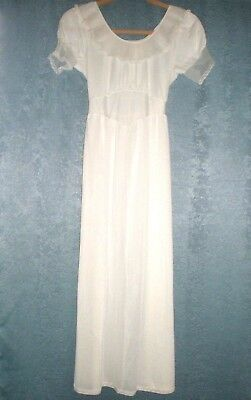 "VINTAGE Long, White, Nylon Night Gown, ""Miss Bonnie"", Girls size 12"