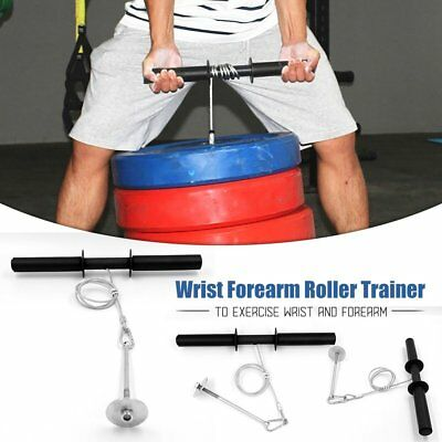 Wrist Roller Forearm Exercise Weights Strength Bar Gym Sport Training Dumbell 7J