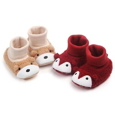 Cute Newborn Baby Toddler Kids Anti-slip Crawling Socks Shoes Slipper Boots UK