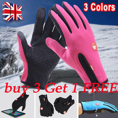 New Winter Warm Windproof Anti-slip Thermal Touch Screen Gloves Zipper UK