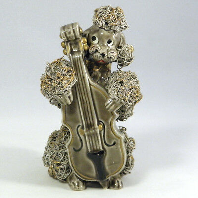 1950s Spaghetti Poodle Gilt Porcelain Figurine Cello Brown Gold Japan Dog VTG
