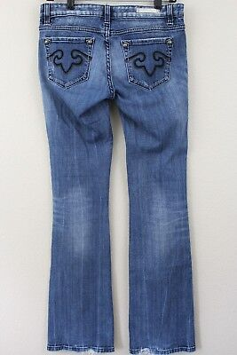 REROCK FOR EXPRESS Womens Flare Jeans Size 8 Long Mid Rise Blue