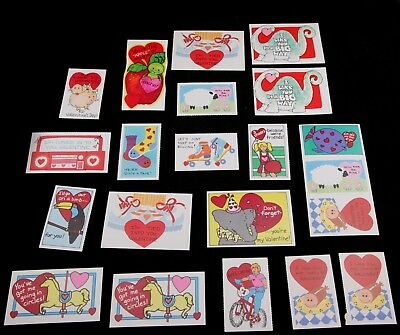 """Vintage Valentine Card Lot of 21 1970's - 1980's - 3.75"""" x 2.75"""" with Envelopes"""