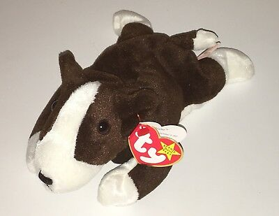Ty Beanie Babies Bruno Brown & White Bull Terrier Puppy New Dog PE Pellets NWT