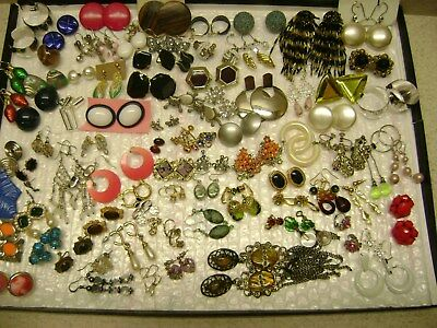 VINTAGE NICE LOT OF 92 PAIRS, COSTUME EARRINGS , MIXED BRANDS Estate Junk Drawer